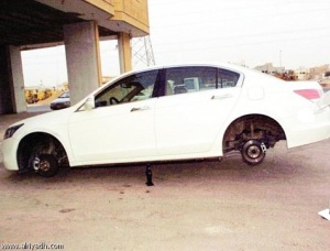 Car tyre theft